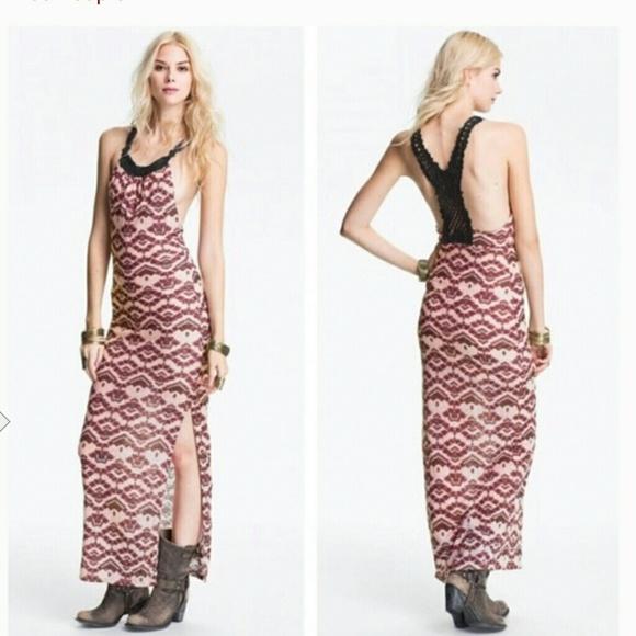 Free People Dresses & Skirts - Rare Free People Rose Crochet Racerback Maxi